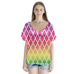 Colorful Rainbow Moroccan Pattern Flutter Sleeve Top