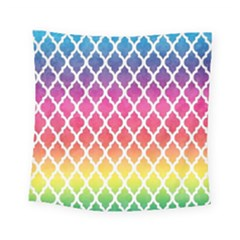 Colorful Rainbow Moroccan Pattern Square Tapestry (small)