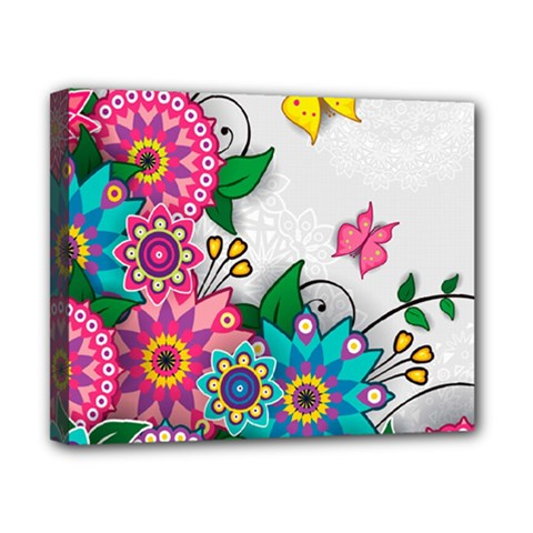 Flowers Pattern Vector Art Canvas 10  X 8