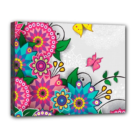 Flowers Pattern Vector Art Canvas 14  X 11