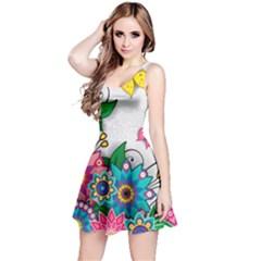 Flowers Pattern Vector Art Reversible Sleeveless Dress
