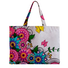 Flowers Pattern Vector Art Zipper Mini Tote Bag