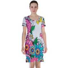 Flowers Pattern Vector Art Short Sleeve Nightdress