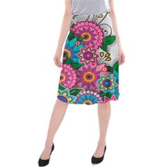 Flowers Pattern Vector Art Midi Beach Skirt