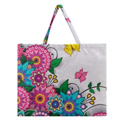 Flowers Pattern Vector Art Zipper Large Tote Bag