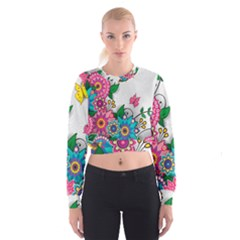 Flowers Pattern Vector Art Women s Cropped Sweatshirt
