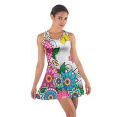 Flowers Pattern Vector Art Cotton Racerback Dress