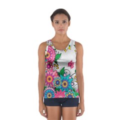 Flowers Pattern Vector Art Women s Sport Tank Top