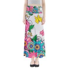 Flowers Pattern Vector Art Maxi Skirts