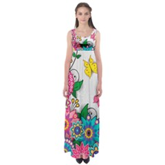 Flowers Pattern Vector Art Empire Waist Maxi Dress