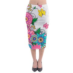 Flowers Pattern Vector Art Midi Pencil Skirt
