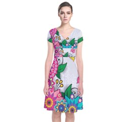 Flowers Pattern Vector Art Short Sleeve Front Wrap Dress