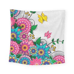 Flowers Pattern Vector Art Square Tapestry (small)