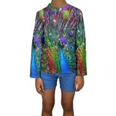 3d Peacock Pattern Kids  Long Sleeve Swimwear