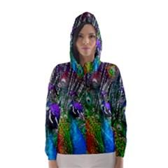 3d Peacock Pattern Hooded Wind Breaker (women)