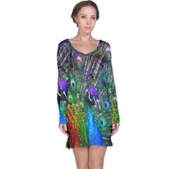 3d Peacock Pattern Long Sleeve Nightdress