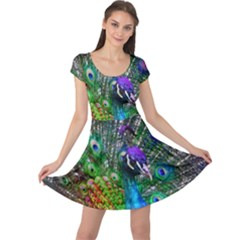 3d Peacock Pattern Cap Sleeve Dresses