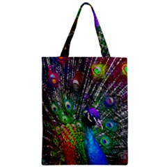3d Peacock Pattern Zipper Classic Tote Bag