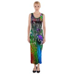 3d Peacock Pattern Fitted Maxi Dress
