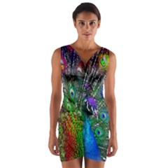 3d Peacock Pattern Wrap Front Bodycon Dress