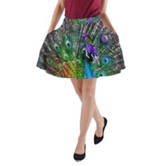 3d Peacock Pattern A Line Pocket Skirt