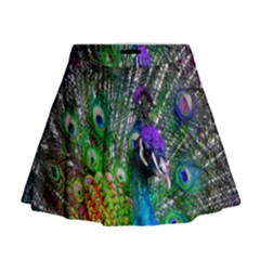 3d Peacock Pattern Mini Flare Skirt