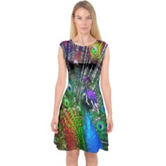 3d Peacock Pattern Capsleeve Midi Dress