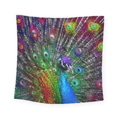 3d Peacock Pattern Square Tapestry (small)