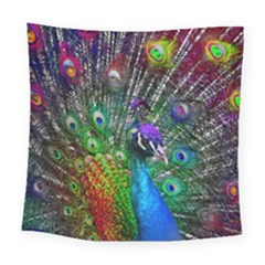 3d Peacock Pattern Square Tapestry (large)