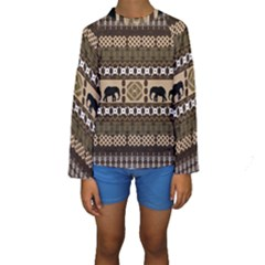 African Vector Patterns  Kids  Long Sleeve Swimwear