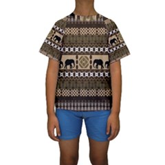 African Vector Patterns  Kids  Short Sleeve Swimwear