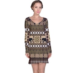 African Vector Patterns  Long Sleeve Nightdress