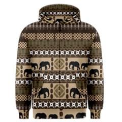 African Vector Patterns  Men s Zipper Hoodie