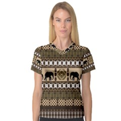 African Vector Patterns  Women s V-Neck Sport Mesh Tee