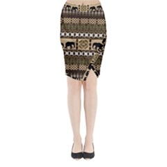 African Vector Patterns  Midi Wrap Pencil Skirt