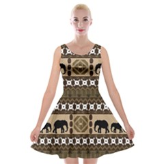 African Vector Patterns  Velvet Skater Dress