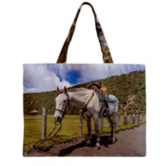 White Horse Tied Up at Cotopaxi National Park Ecuador Mini Tote Bag