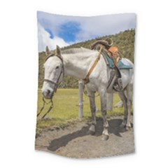 White Horse Tied Up At Cotopaxi National Park Ecuador Small Tapestry