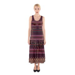Ulos Suji Traditional Art Pattern Sleeveless Maxi Dress