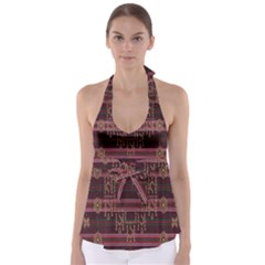Ulos Suji Traditional Art Pattern Babydoll Tankini Top