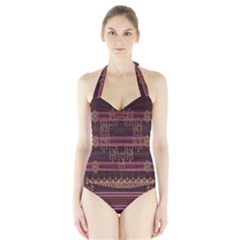 Ulos Suji Traditional Art Pattern Halter Swimsuit