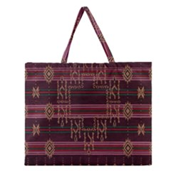 Ulos Suji Traditional Art Pattern Zipper Large Tote Bag