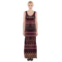 Ulos Suji Traditional Art Pattern Maxi Thigh Split Dress