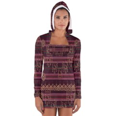 Ulos Suji Traditional Art Pattern Women s Long Sleeve Hooded T-shirt
