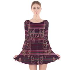 Ulos Suji Traditional Art Pattern Long Sleeve Velvet Skater Dress