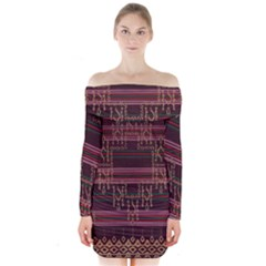Ulos Suji Traditional Art Pattern Long Sleeve Off Shoulder Dress
