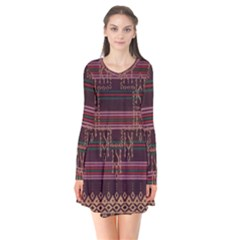 Ulos Suji Traditional Art Pattern Flare Dress