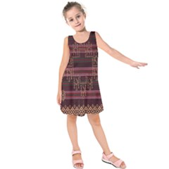 Ulos Suji Traditional Art Pattern Kids  Sleeveless Dress