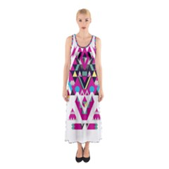Geometric Play Sleeveless Maxi Dress