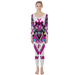Geometric Play Long Sleeve Catsuit